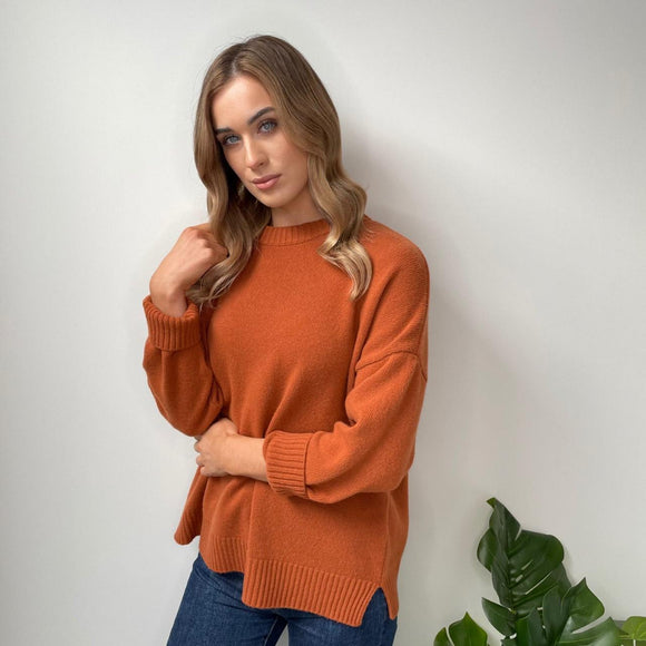 Rust Loose Sweater with Slits