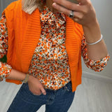 White Printed Shirt with Orange Flowers
