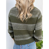 Khaki Striped Sweater with Sequins
