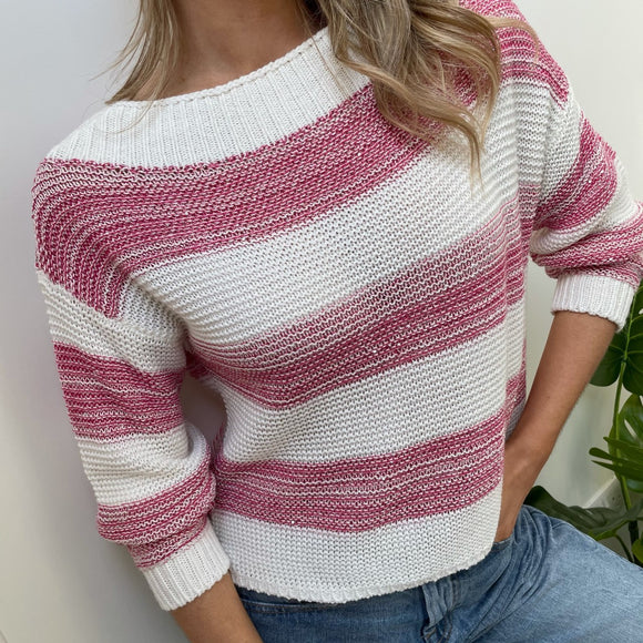 Pink Striped Sweater with Sequins Benetton
