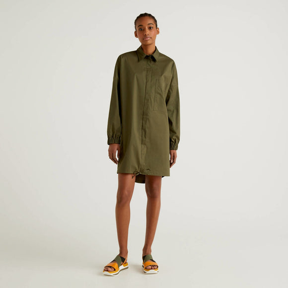 Khaki Benetton Shirt Dress with Drawstring