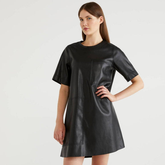 Black Short Faux Leather Dress