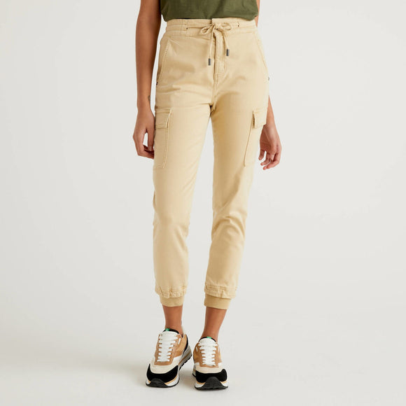 Camel Slim Fit Cargos in Stretch Cotton