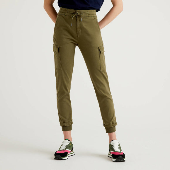Khaki Slim Fit Cargos in Stretch Cotton