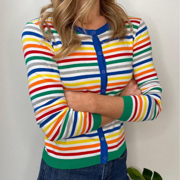 Multi-colour Stripe Crew Neck Cardigan