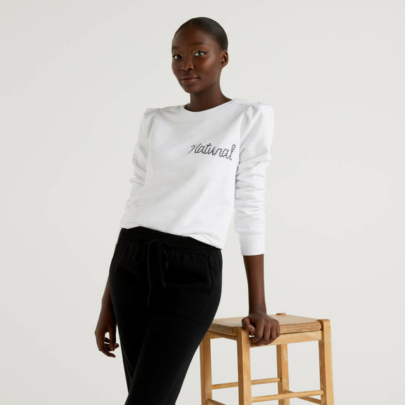 White Benetton Sweater with Natural Embroidery
