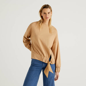 Camel Benetton Sweatshirt with Bow