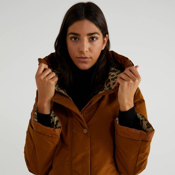 Tan Padded Jacket with Leopard Print Lining