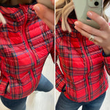 Red Tartan Puffer Jacket with Hood