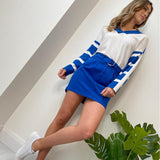 White & Blue Cotton V-neck Sweater