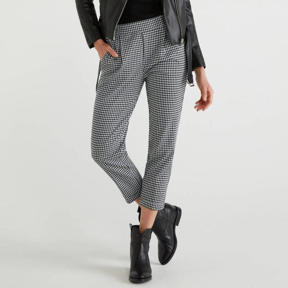 Black & White Hounds-tooth Stretch Trousers with Cuffs