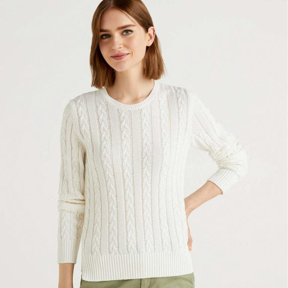 White Crew Neck Cable Knit Sweater