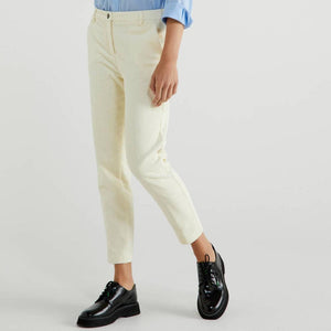 Creamy White Stretch Cord Trousers