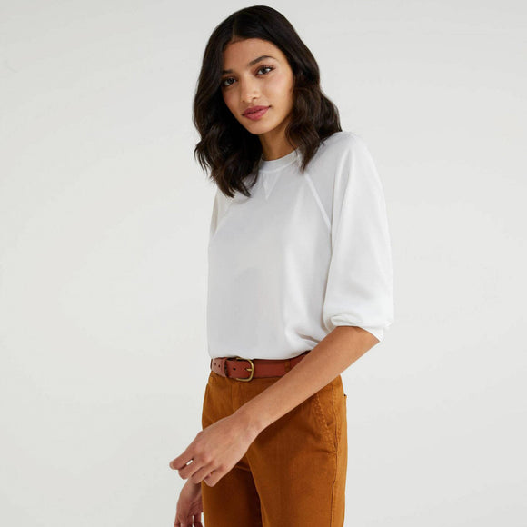 White Round Neck Crepe Blouse