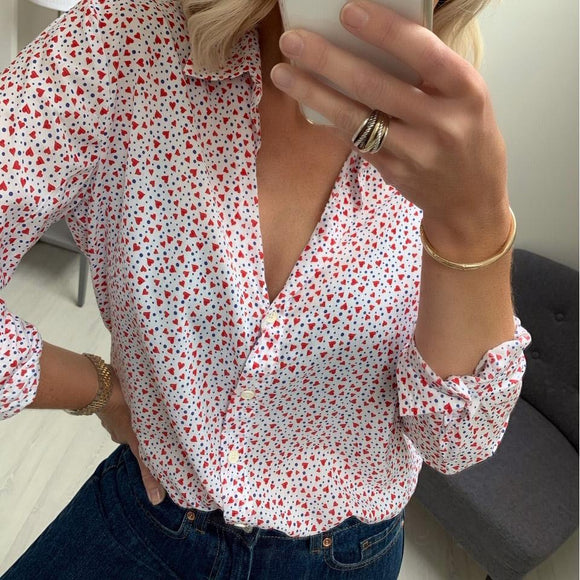 White Patterned Shirt with Red Hearts