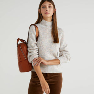 Oatmeal Turtleneck with Puff Sleeves