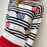 "White & Navy Stripe ""Benny the Sheep"" Sweater"