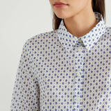 White Printed Shirt with Blue Leaf Motif