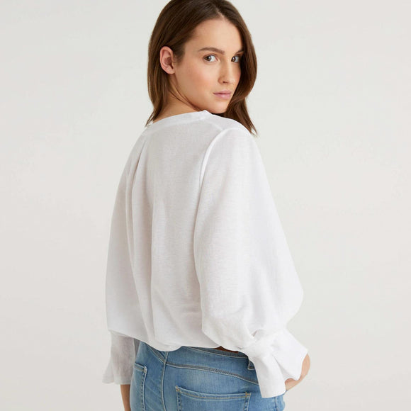 White Benetton Blouse with Gathered Sleeve