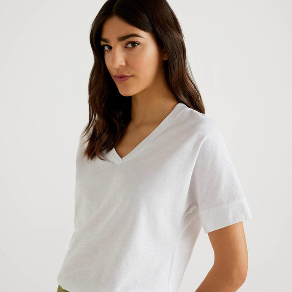 White 100% Cotton T-shirt with V-neck
