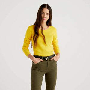 Yellow Crew Neck Sweater in Cotton