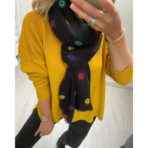 Yellow Loose Sweater With Slits