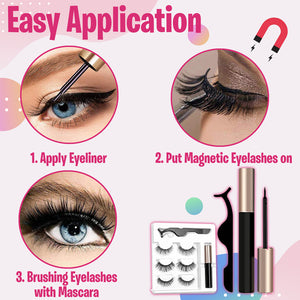 Glamorous Magnetic Eyelashes and Eyeliner (3pairs)
