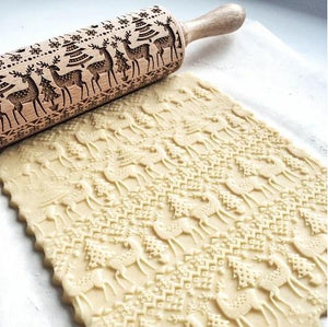 Embossing Wooden Rolling Pin