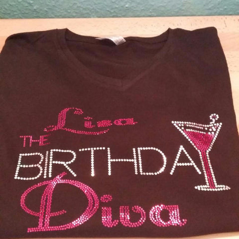 THE BIRTHDAY DIVA (CUSTOMIZE WITH NAME) BLING