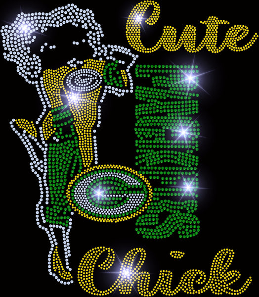 CUTE PACKERS CHICK BLING TRANSFER
