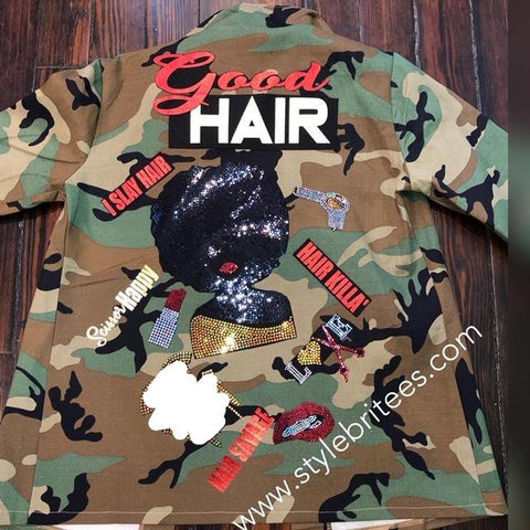 GOOD HAIR CAMOUFLAGE BLING Patchwork JACKET