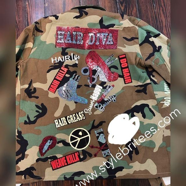 HAIR DIVA CAMOUFLAGE BLING Patchwork JACKET