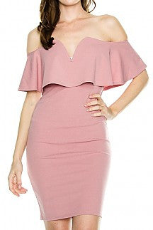MAUVE OFF SHOULDER DRESS