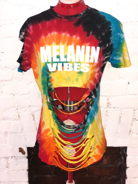 Melanin Vibes TYE DYE DISTRESSED SHIRT