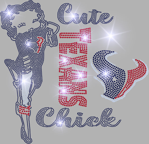 CUTE TEXANS CHICK BLING TRANSFER
