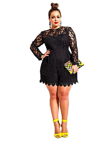 PLUS SIZE LACE JUMPSUIT SHORTS