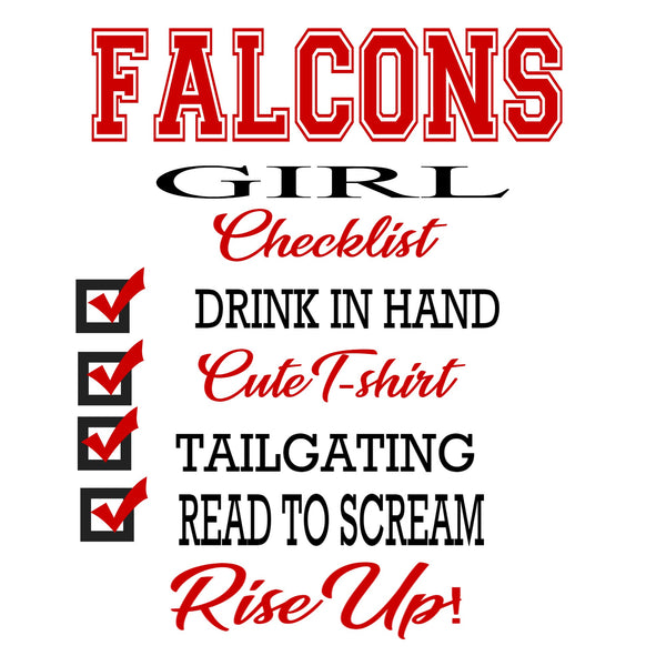 FALCONS GIRL CHECKLIST