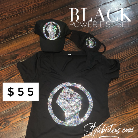 BLACK POWER FIST CAP MASK & T-SHIRT SET