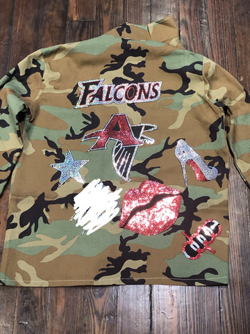 Atlanta Falcons CAMOUFLAGE BLING Patchwork JACKET