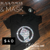 BLACK POWER FIST  BLING T-SHIRT &  MASK SET