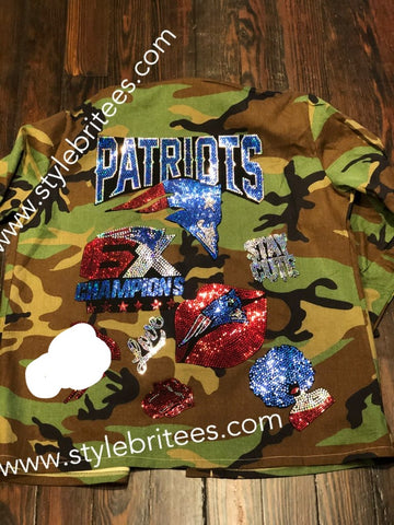 PATRIOTS CAMOUFLAGE BLING Patchwork JACKET