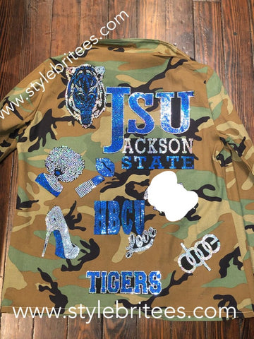 JSU TIGERS CAMOUFLAGE BLING Patchwork JACKET