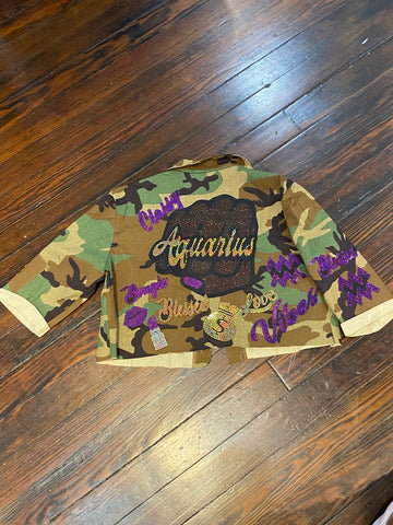 Aquarius Fist CAMOUFLAGE BLING Patchwork JACKET