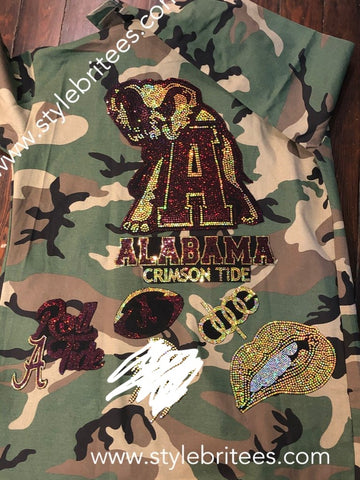ALABAMA CAMOUFLAGE BLING Patchwork JACKET