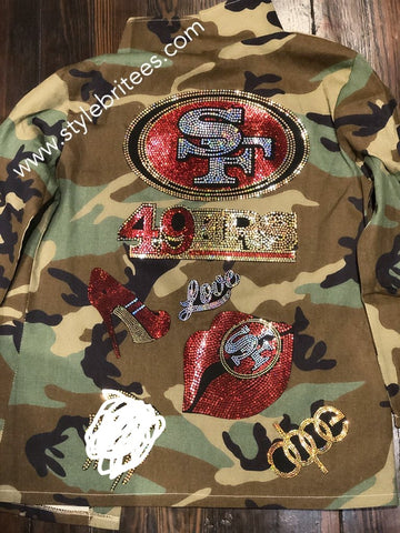 49ERS CAMOUFLAGE BLING Patchwork JACKET