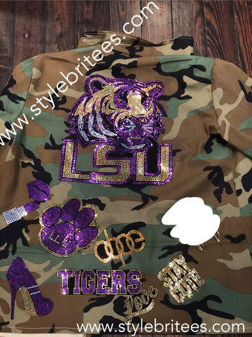LSU TIGERS CAMOUFLAGE BLING Patchwork JACKET