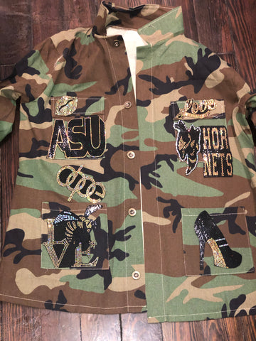 ASU HORNETS CAMOUFLAGE BLING Patchwork JACKET