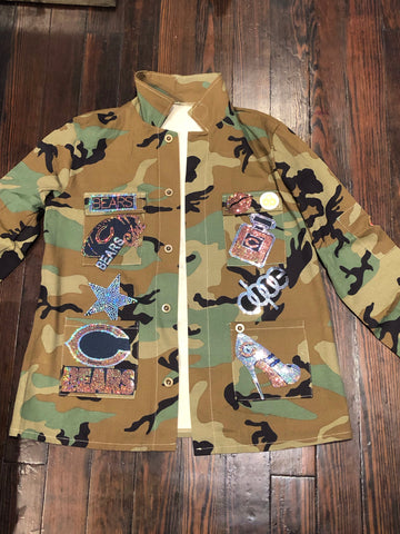 BEARS CAMOUFLAGE BLING Patchwork JACKET
