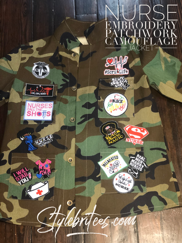 NURSE CAMOUFLAGE Embroidery Patchwork Jacket