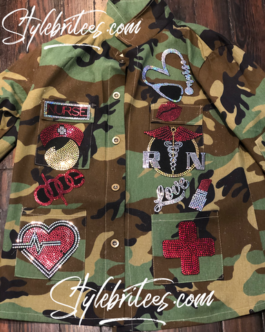 NURSE CAMOUFLAGE BLING Patchwork JACKET